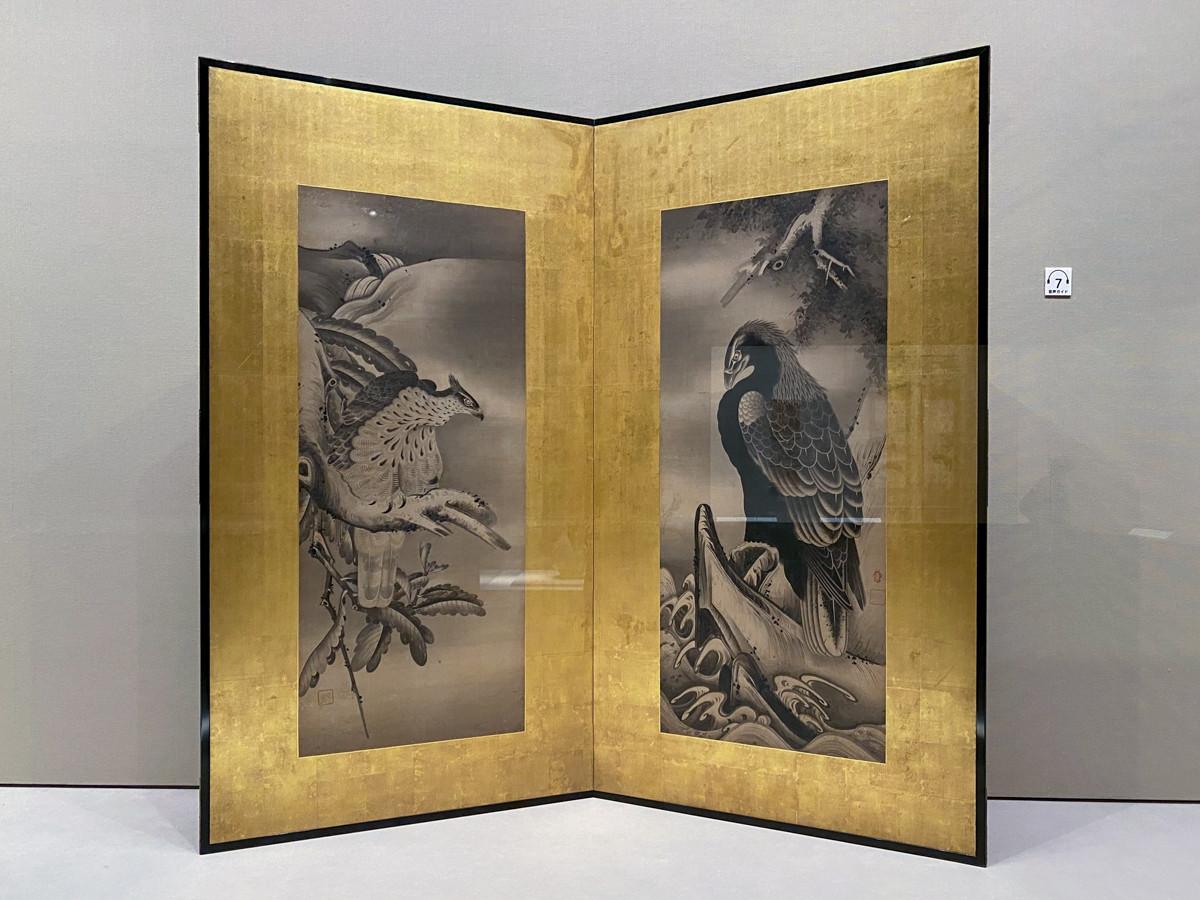 曾我宗庵筆《鷲鷹図屏風》江戸時代 17~18世紀