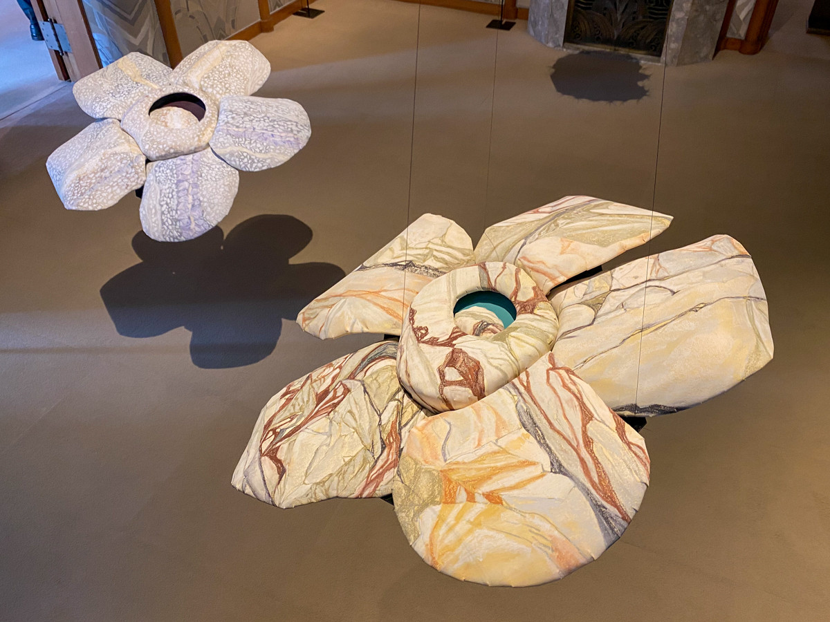 (左奥)康夏奈《Cosmic Rafflesia Arnoidii》2016 / (右手前)康夏奈《Cosmic Young Girl Rafflesia》2016