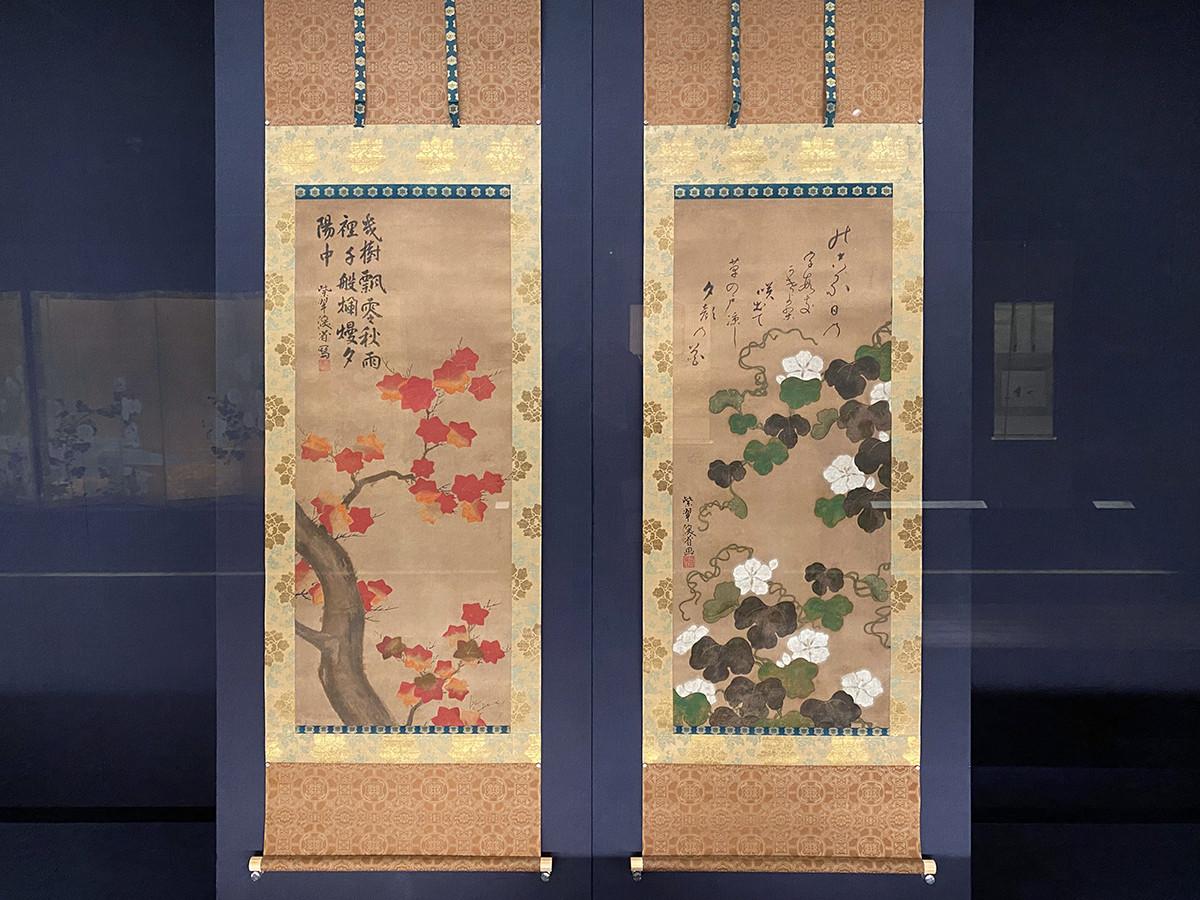 尾形乾山《夕顔・楓図》元文5年(1740)頃