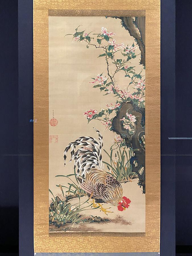 伊藤若冲《花卉雄鶏図》18世紀中頃