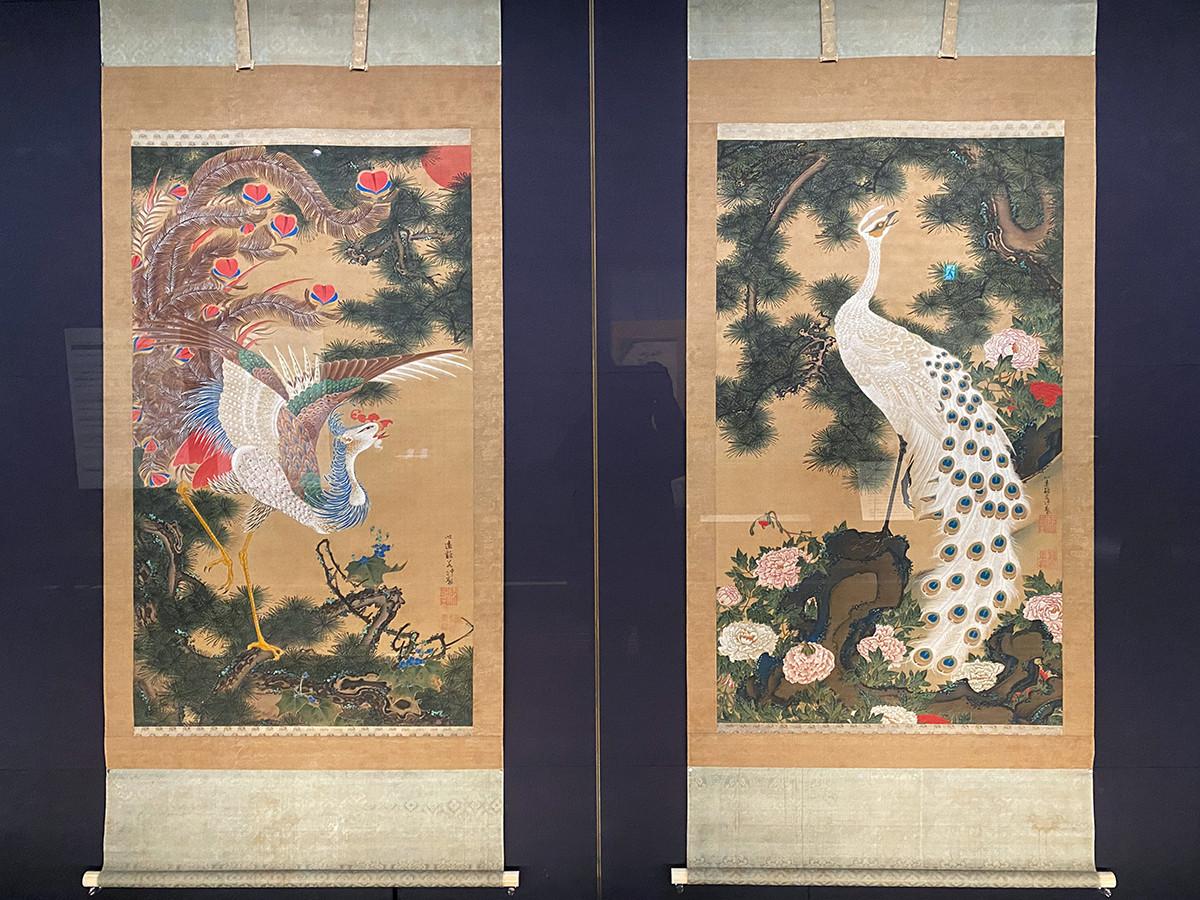 重要美術品 伊藤若冲《孔雀鳳凰図》宝暦5年(1755)頃