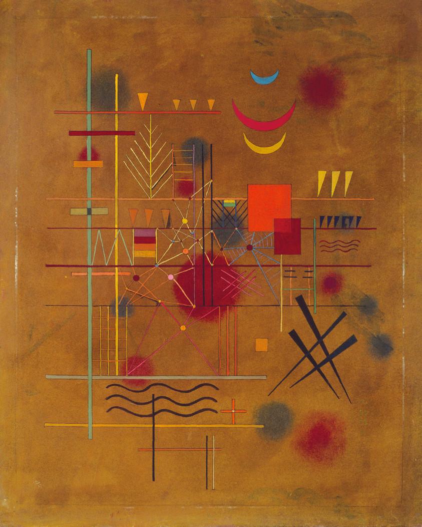 ヴァシリィ・カンディンスキー《網の中の赤》 1927年 油彩、厚紙 61.0×49.0cm 横浜美術館蔵