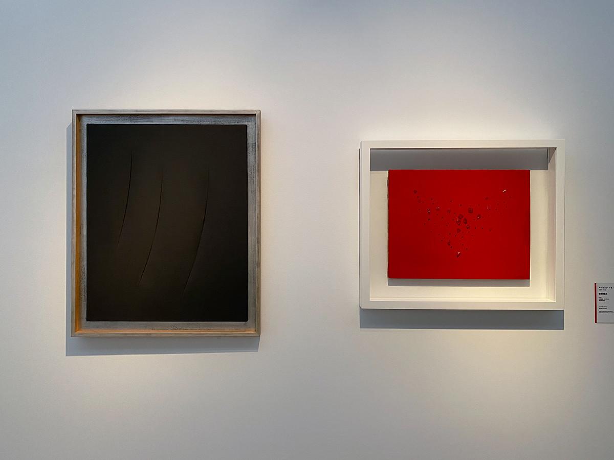 (左から)ルーチョ・フォンタナ《空間概念》1960 愛知県美術館 / ルーチョ・フォンタナ《空間概念》1953 富山県美術館