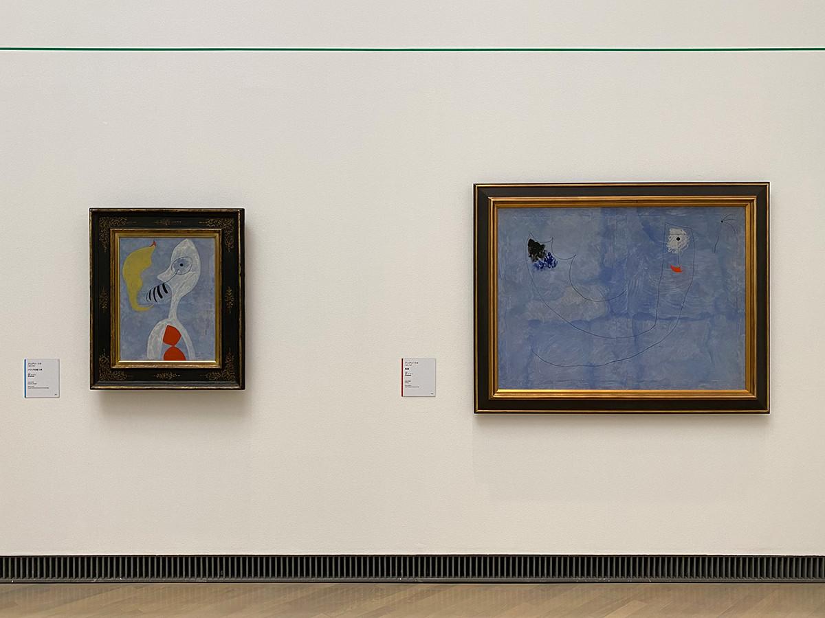 (左から)ジュアン・ミロ《パイプを吸う男》1925 富山県美術館 / ジュアン・ミロ《絵画》1925 愛知県美術館