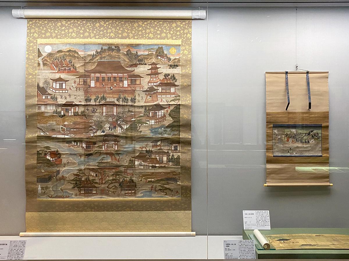 (左から)《須磨寺参詣曼陀羅》桃山時代、16世紀末 福祥寺(須磨寺)蔵 / 《一遍上人絵伝断巻》永徳元年(1381)頃