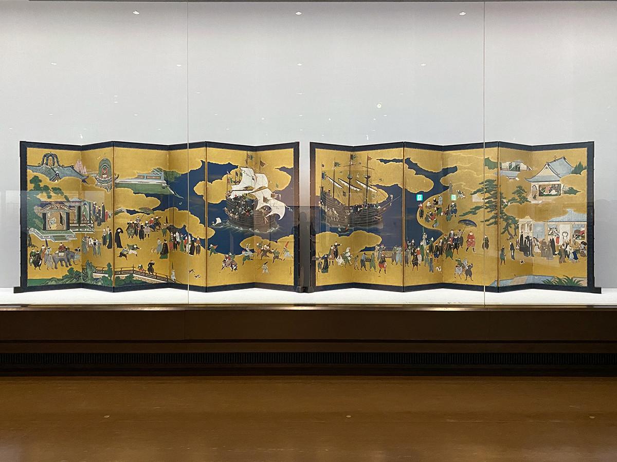 重要文化財 狩野内膳《南蛮屏風》 桃山時代、16世紀末期~17世紀初期
