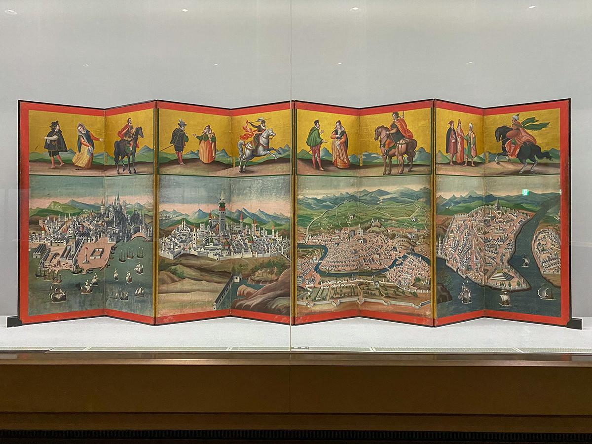 重要文化財《四都図・世界図屏風》から「四都図」 江戸時代、17世紀初期
