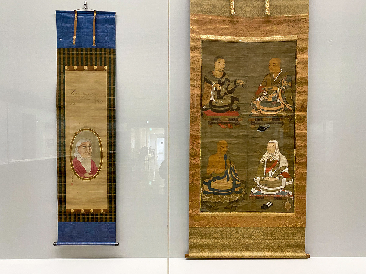 (左から)酒井抱一《ヒポクラテス像》文化7年(1810)賛 / 《天台四祖図》暦応元年(1338)福祥寺(須磨寺)蔵