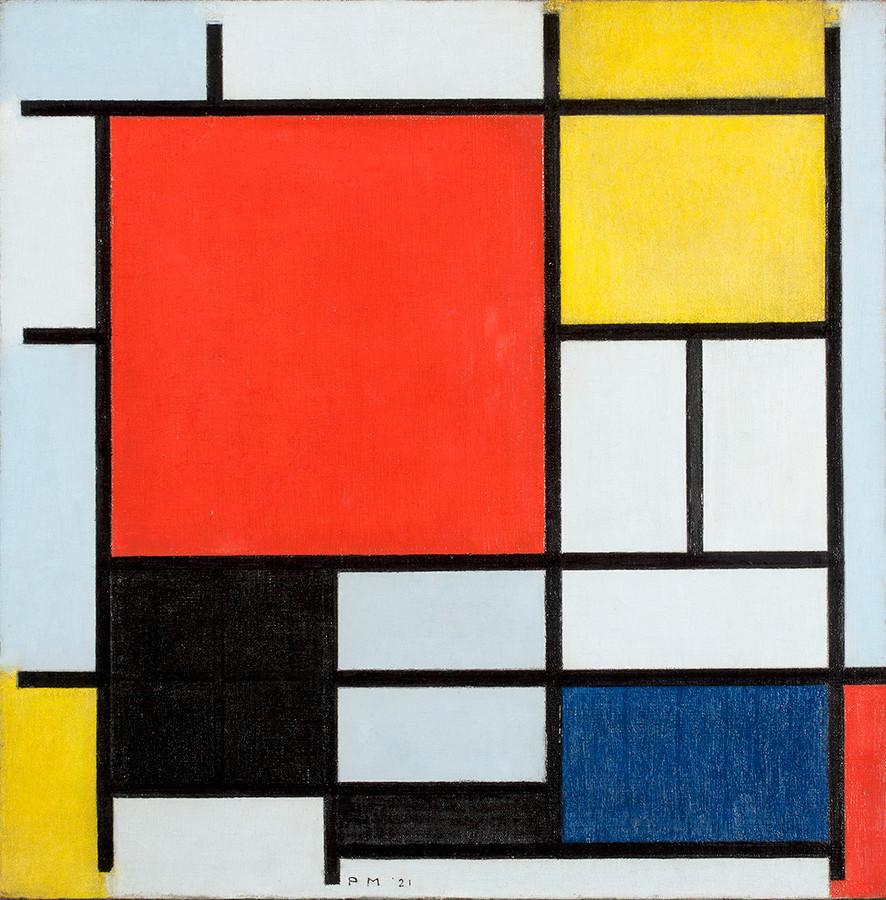 ピート・モンドリアン 《 大きな赤の色面、黄、黒、灰、青色のコンポジション 》 1921 年 油彩、カンヴァス デン・ハーグ美術館 ©Kunstmuseum Den Haag