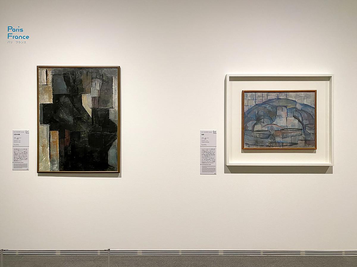(左から)ピート・モンドリアン《女性の肖像》1912年 デン・ハーグ美術館 / ピート・モンドリアン《風景》1912年 デン・ハーグ美術館