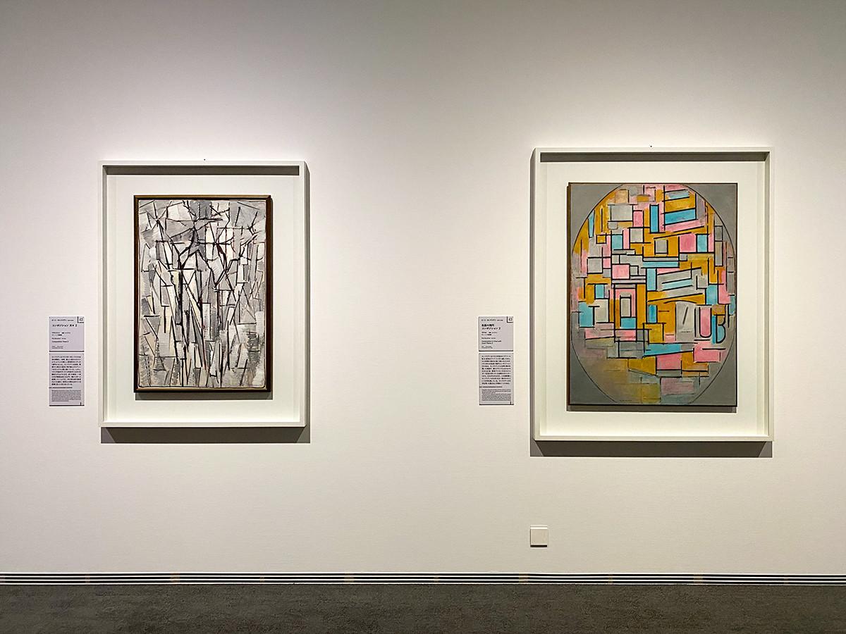 (左から)ピート・モンドリアン《コンポジション 木々 2》1912‒13年 デン・ハーグ美術館 / ピート・モンドリアン《色面の楕円コンポジション 2》1914年 デン・ハーグ美術館
