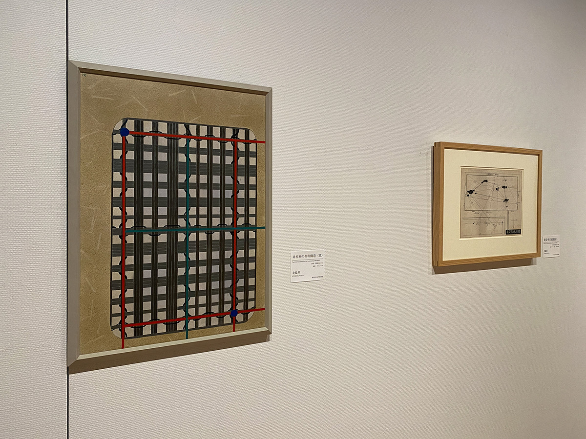 (左から)北脇昇《非相称の相称構造(窓)》1939(昭和14)年 東京国立近代美術館 / 北脇昇《竜安寺石庭測図》1939(昭和14)年 東京国立近代美術館