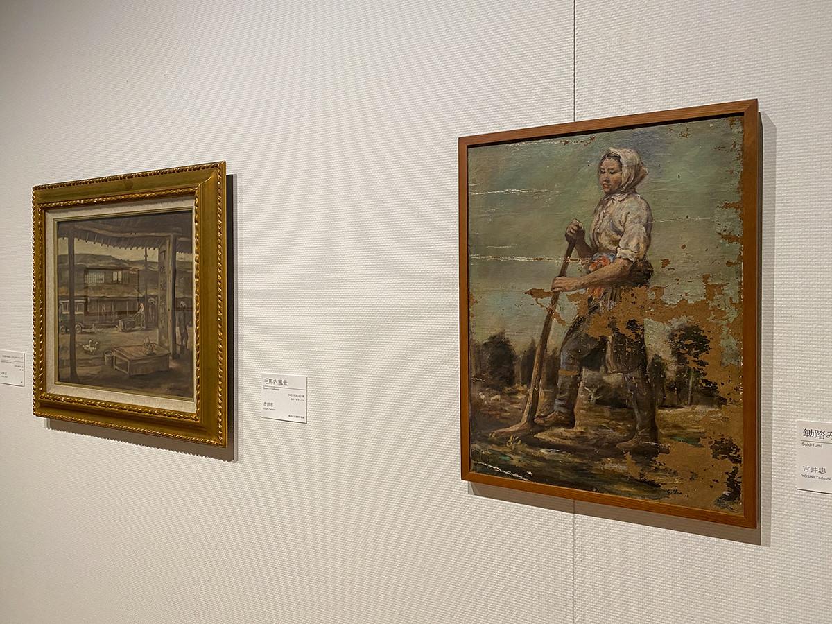 (左から)吉井忠《毛馬内風景》1943(昭和18)年 福島県立美術館寄託 / 吉井忠《鋤踏み》1943(昭和18)年