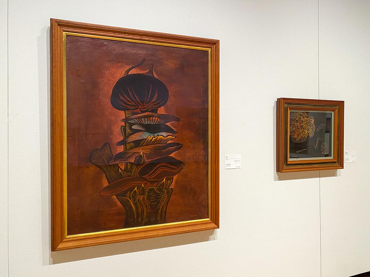 (左から)寺田政明《芽》1938(昭和13)年 板橋区立美術館 / 寺田政明《静物》1942(昭和17)年 練馬区立美術館