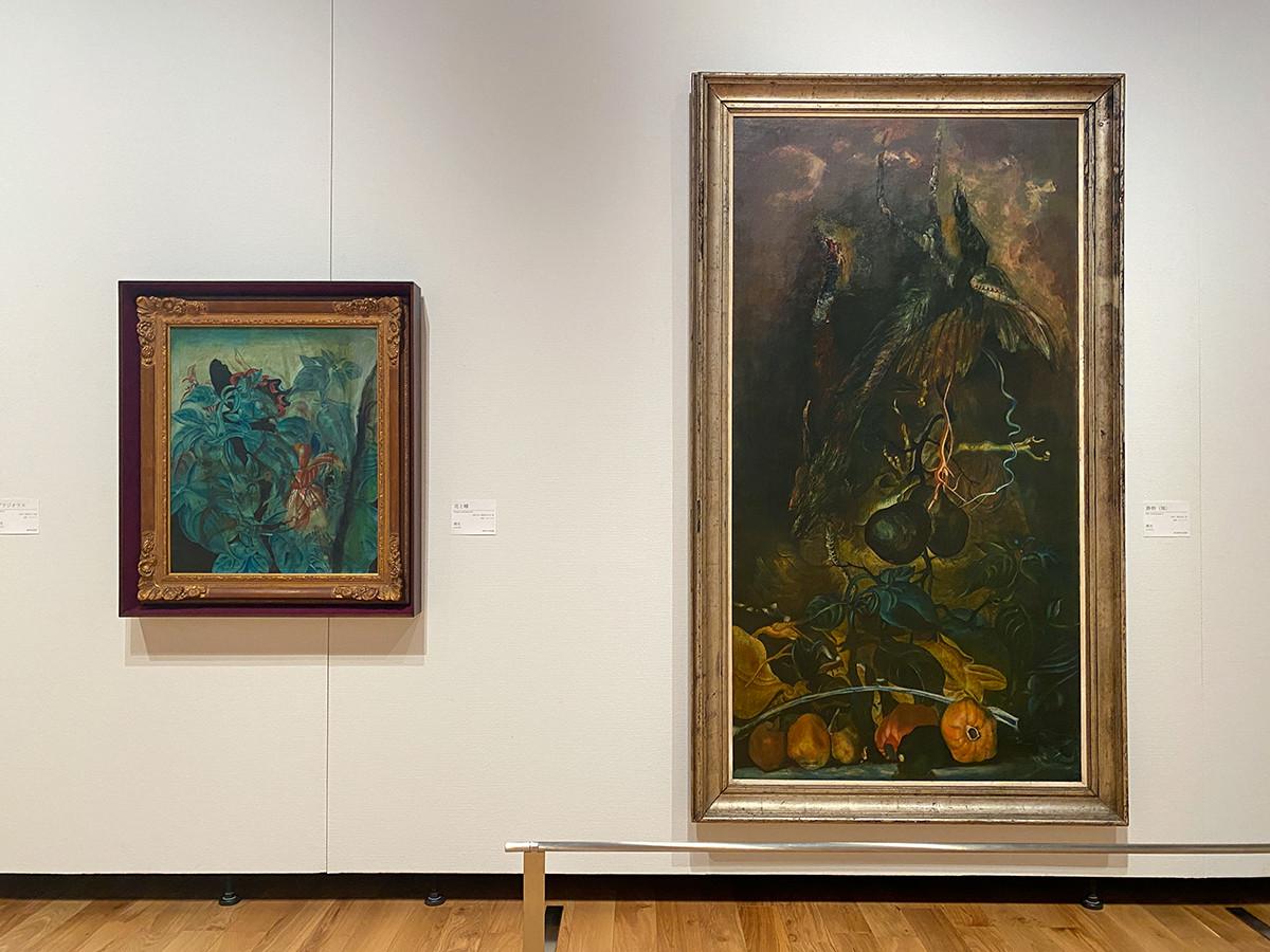 (左から)靉光《花と蝶》1941-42(昭和16-17)年 練馬区立美術館 / 靉光《静物(雉)》1941(昭和16)年 東京都現代美術館