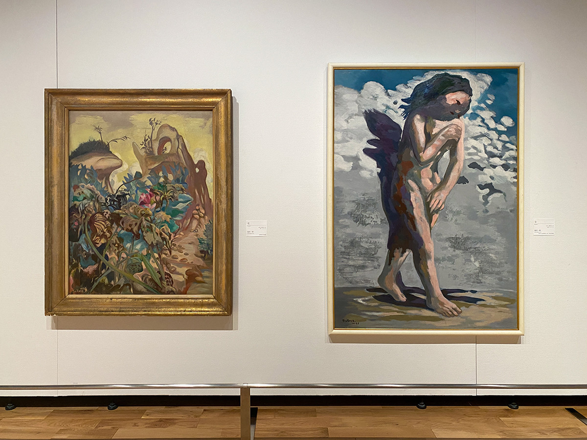 (左から)福沢一郎《花》1938(昭和13)年 多摩美術大学美術館 / 福沢一郎《女》1937(昭和12)年 富岡市立美術博物館・福沢一郎記念美術館