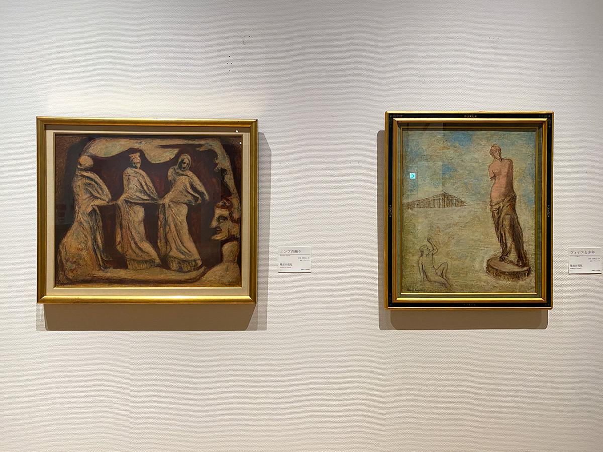 (左から)難波田龍起《ニンフの踊り》1936(昭和11)年 板橋区立美術館 / 難波田龍起《ヴィナスと少年》1936(昭和11)年 板橋区立美術館