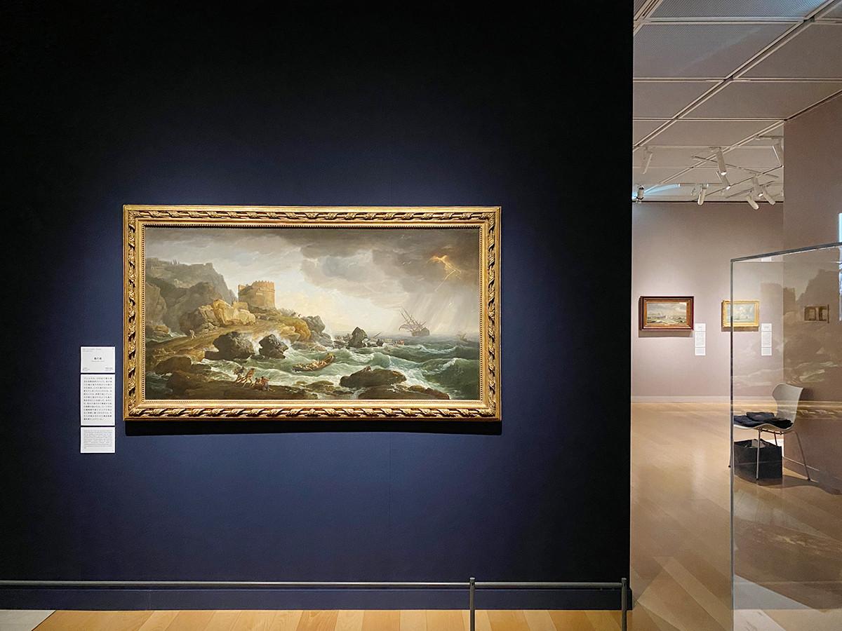 第3章「クールベ以前の海―畏怖からピクチャレスクへ」 (左)クロード=ジョゼフ・ヴェルネ《嵐の海》1740年頃 静岡県立美術館