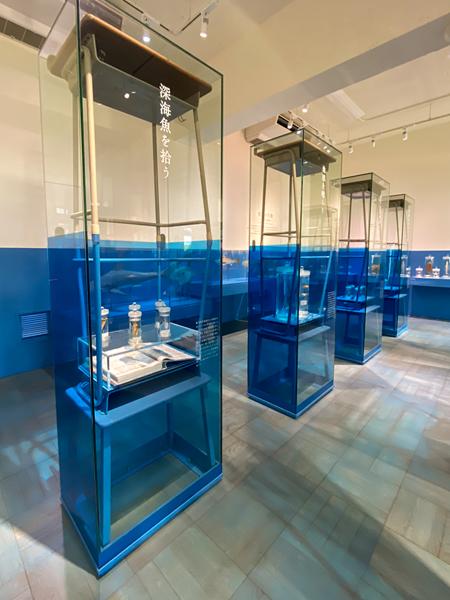 展示室3「ふじのくにの海」 展示台は学校の机を使っています