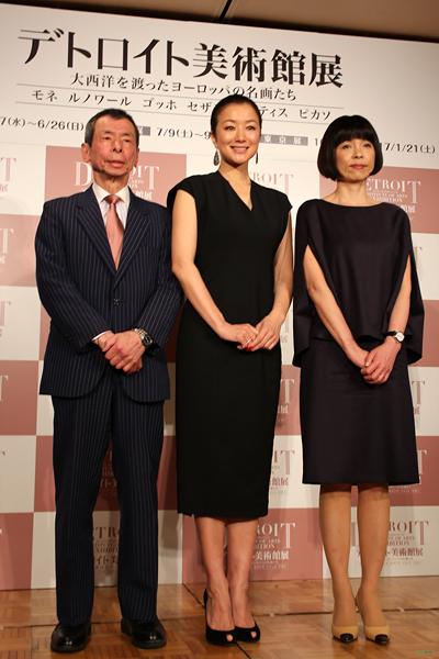 「デトロイト美術館展」の記者発表に登壇した千足伸行、鈴木京香、原田マハの各氏